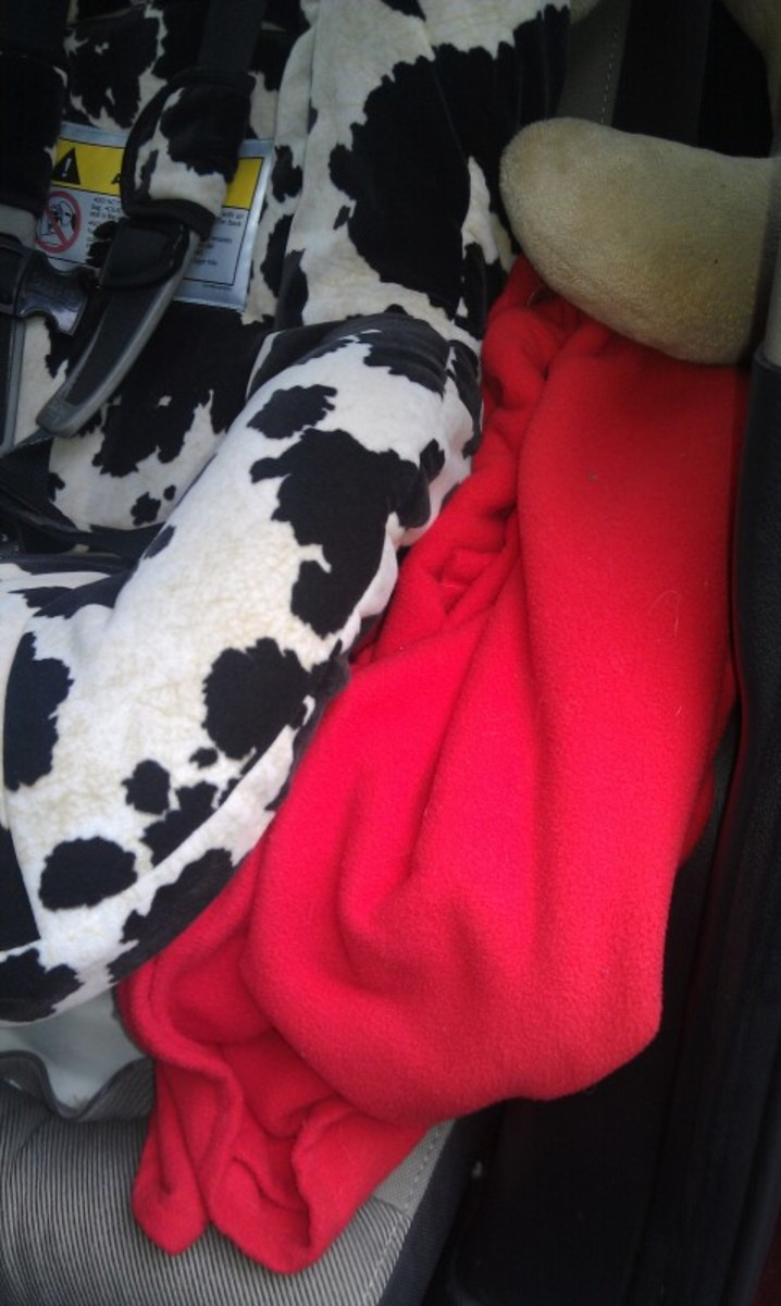 Car blanket tucked between seats, my little one also car a car pillow