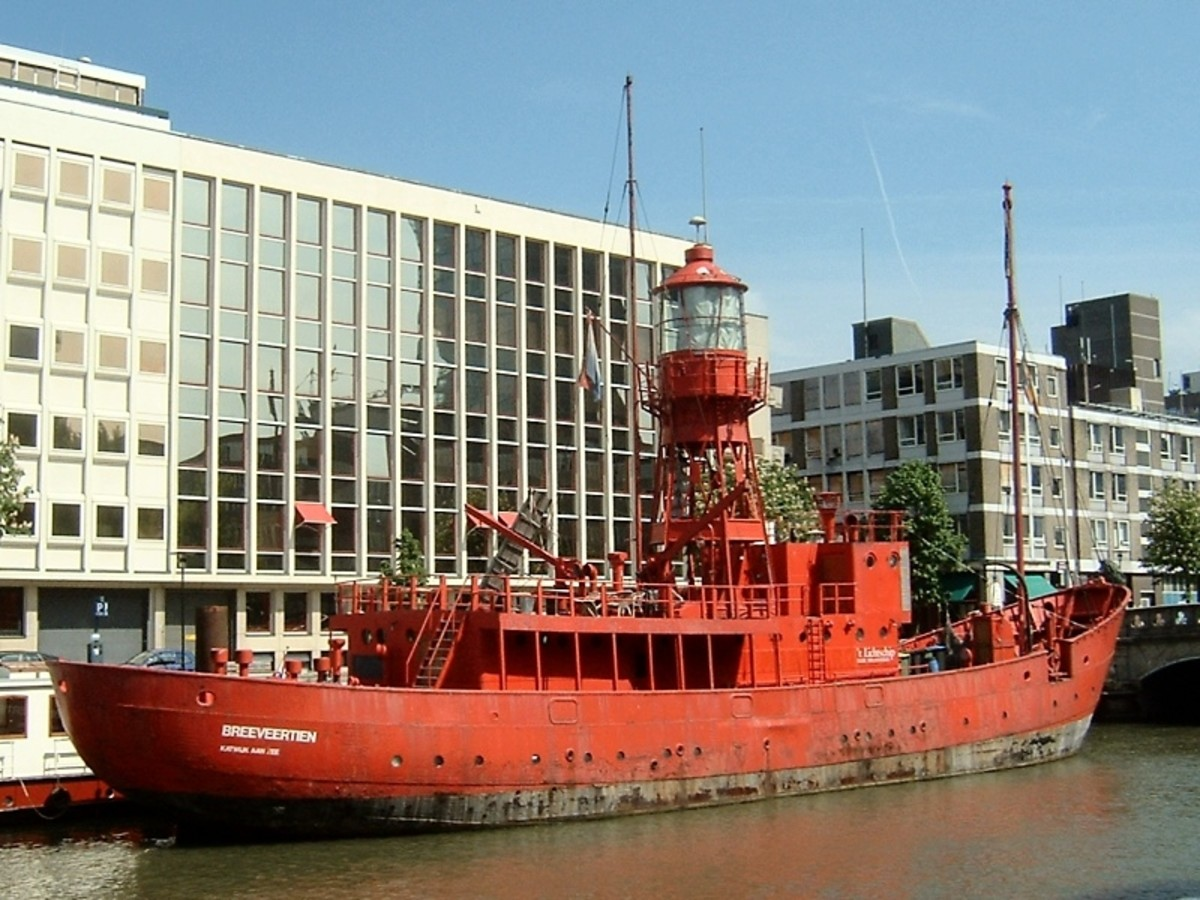 Built in 1951 as lightvessel no. XI, for Trinity House Lighthouse Service, by Philip & Son Ltd in Dartmouth, England. Now a restaurant in Rotterdam, Netherlands.