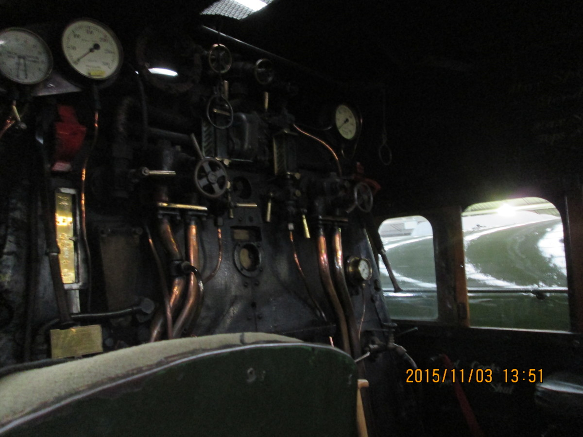 Looking upward into the cab roof with dials and controls from the driver's side (Scottish crews refused to touch engines that weren't left-hand drive)