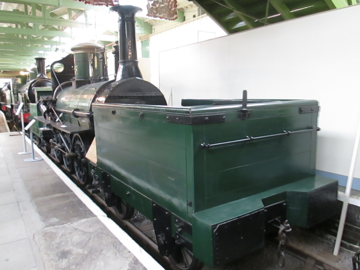 This is 'Derwent', 'Locomotion' was displayed back-to-back with her at Bank Top Station, Darlington  - until transfer in the 1970s to North Road where regional trains share the premises with the 'Head of Steam' museum in the north of the town