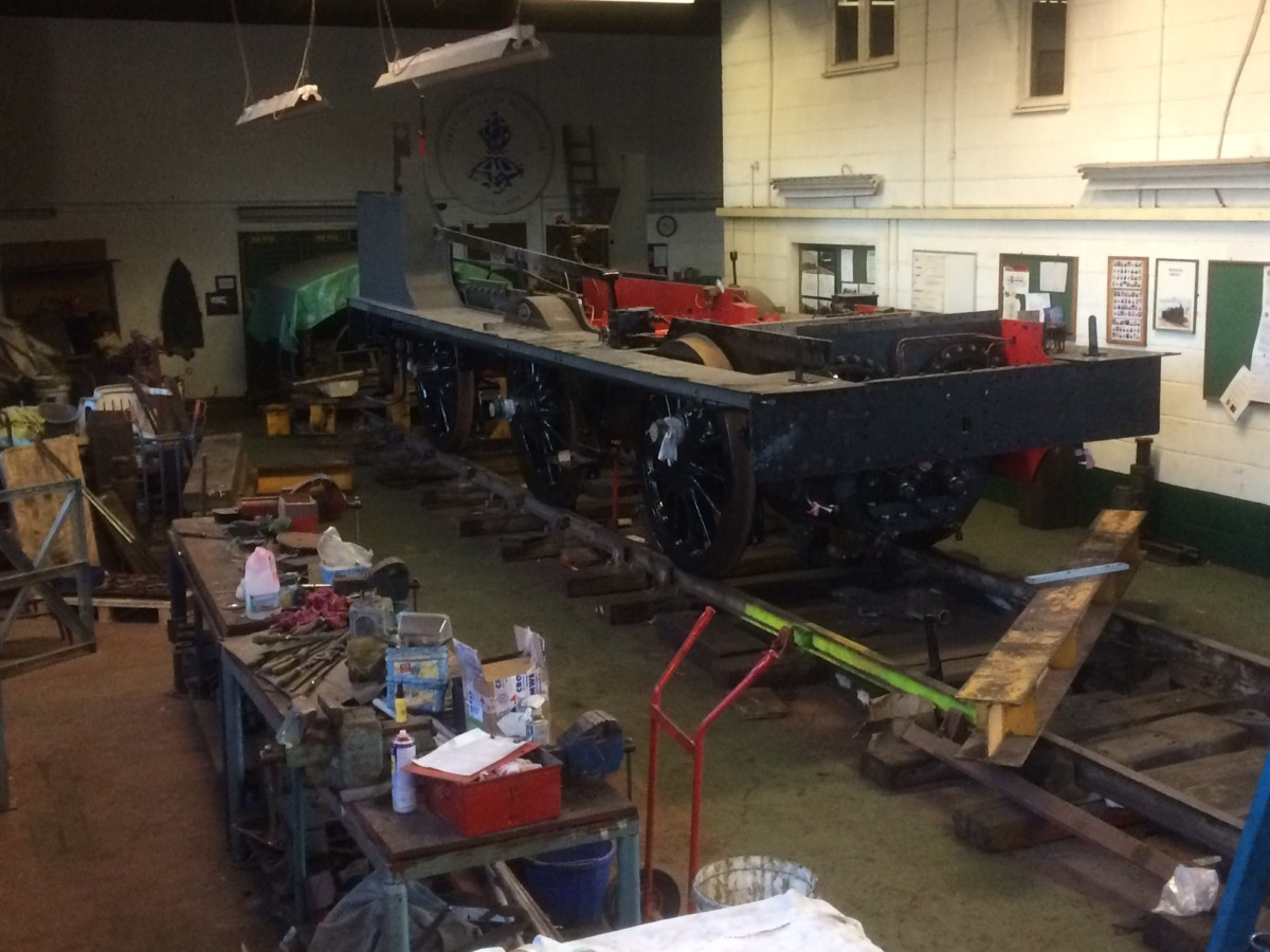 In Hopetown, Darlington Works' NELPG end of the building shared with the A1 Locomotive 60163 is NER Class P3/LNER J27 Underframe re-united with the wheel sets and alignment on the slide bars is complete. See dedicated NELPG page (check Profile page)