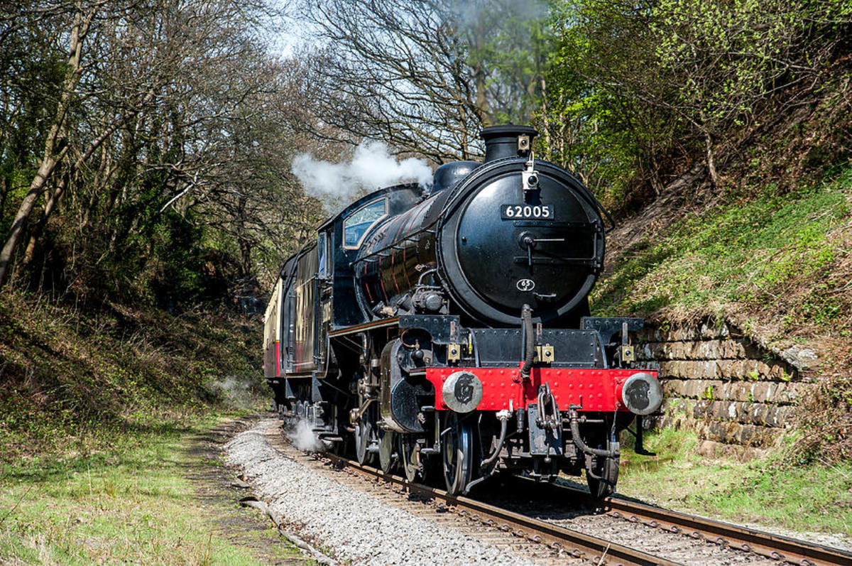 Dave Hudspeth image of NELPG's K1 62005 (only one preserved) approaches the Down Starter at Goathland with a train for Pickering