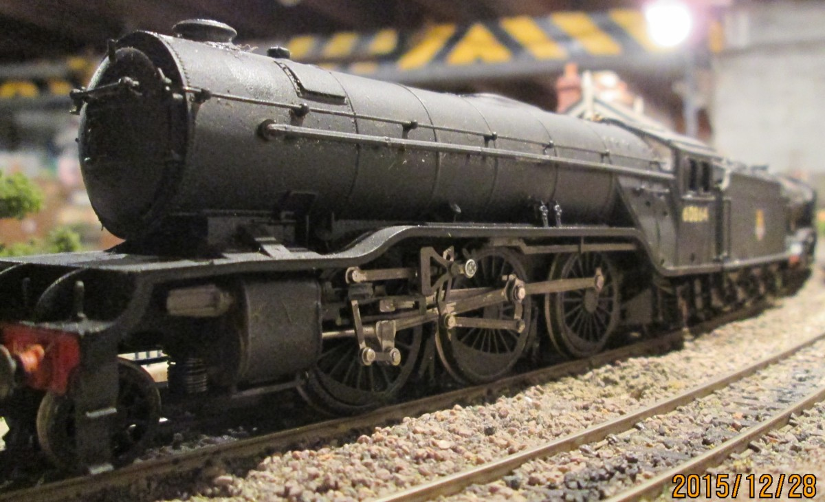 Bachmann model seen from ground level on the Thoraldby layout, 60864 was a York allocation (50A) in the early Fifties and headed both freight and passenger traffic