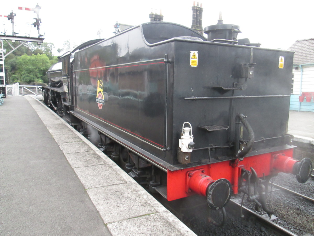 The view from the rear of the tender. A short time later as I walked around the motive power depot she headed a train to Pickering