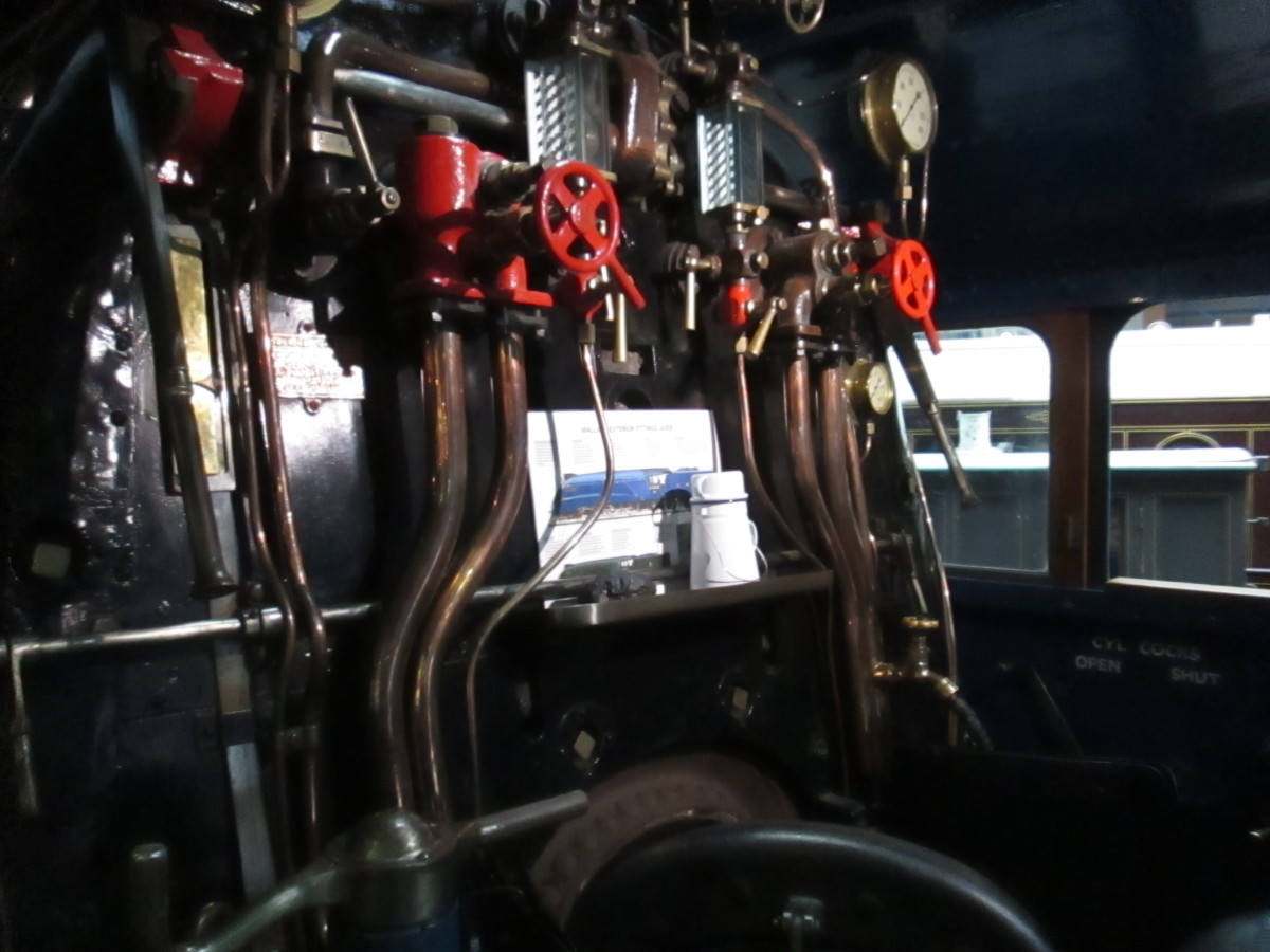 Looking into the cab of 'Mallard' at the NRM, complete with crewman's tea can (white enamel pot with handle)