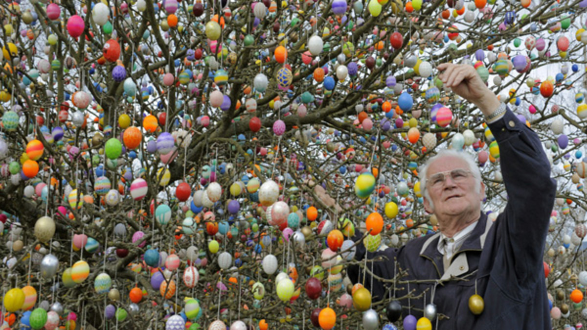 a German Easter tree decorated with lots of eggs