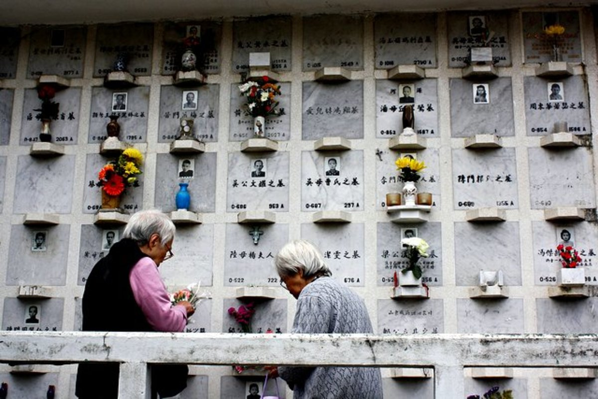 Paying respect to loved ones during qing ming festival in Hong Kong