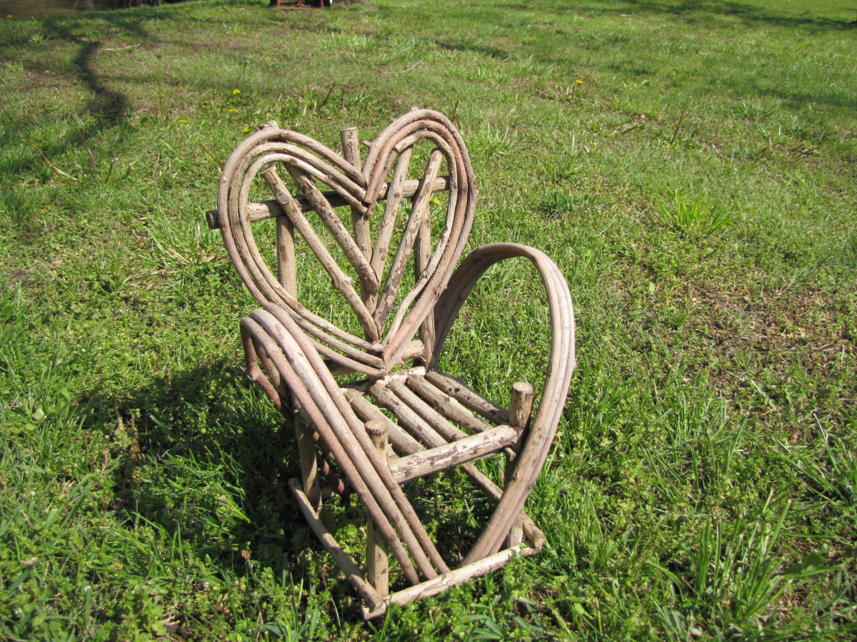 A small chair made of twigs. From my sister's collection of twig whimsies.