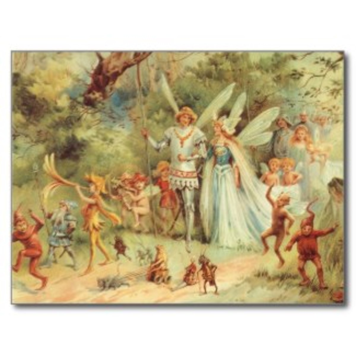 The wedding of the fairy prince and princess, held in a garden setting.
