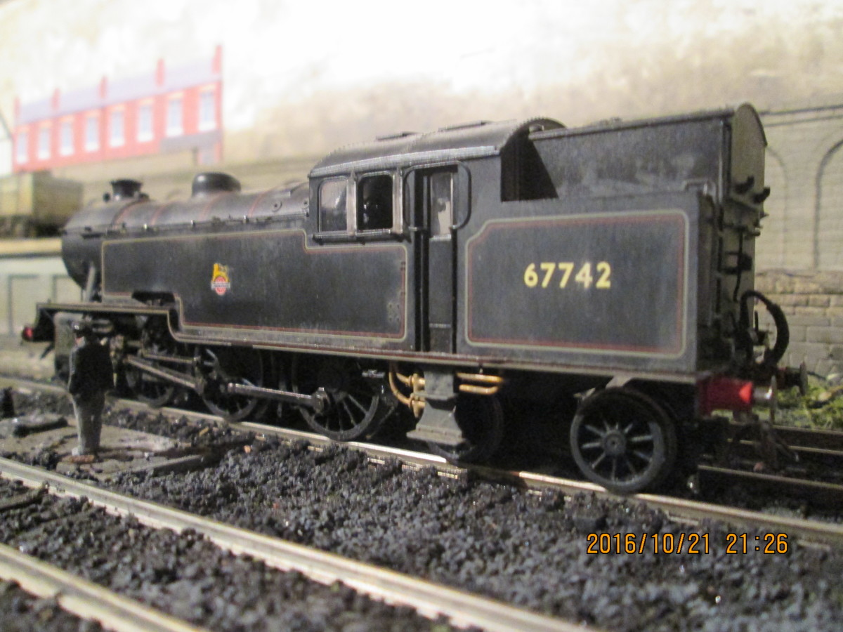 Here's Hornby L1 67742 at Ayton Lane mpd on the Thoraldby layout. Weathered and re-numbered, she also sports wire-wound vacuum and steam-heat pipes as well as Jackson screw couplings - she was a Darlington (51A) allocation