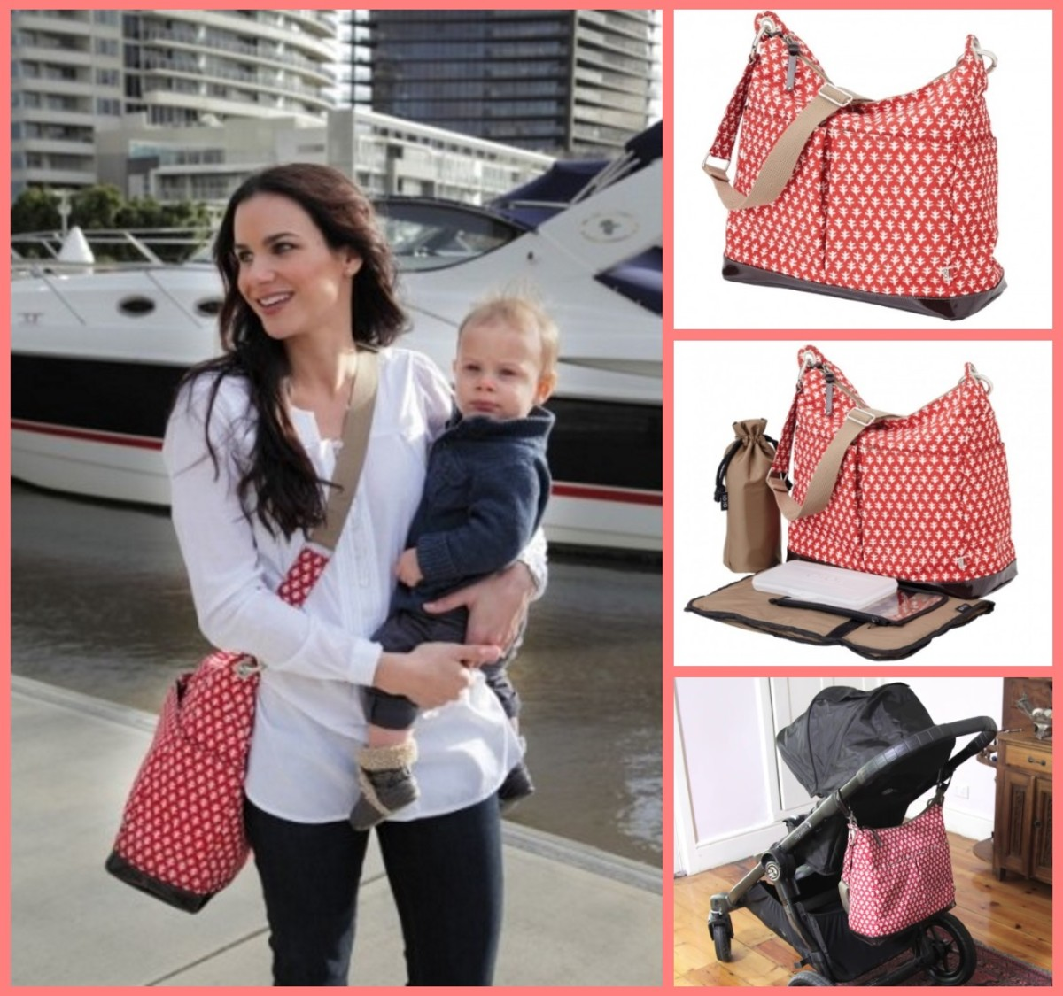 Oi Oi Dual Pocket Diaper Bag - Mini Geo