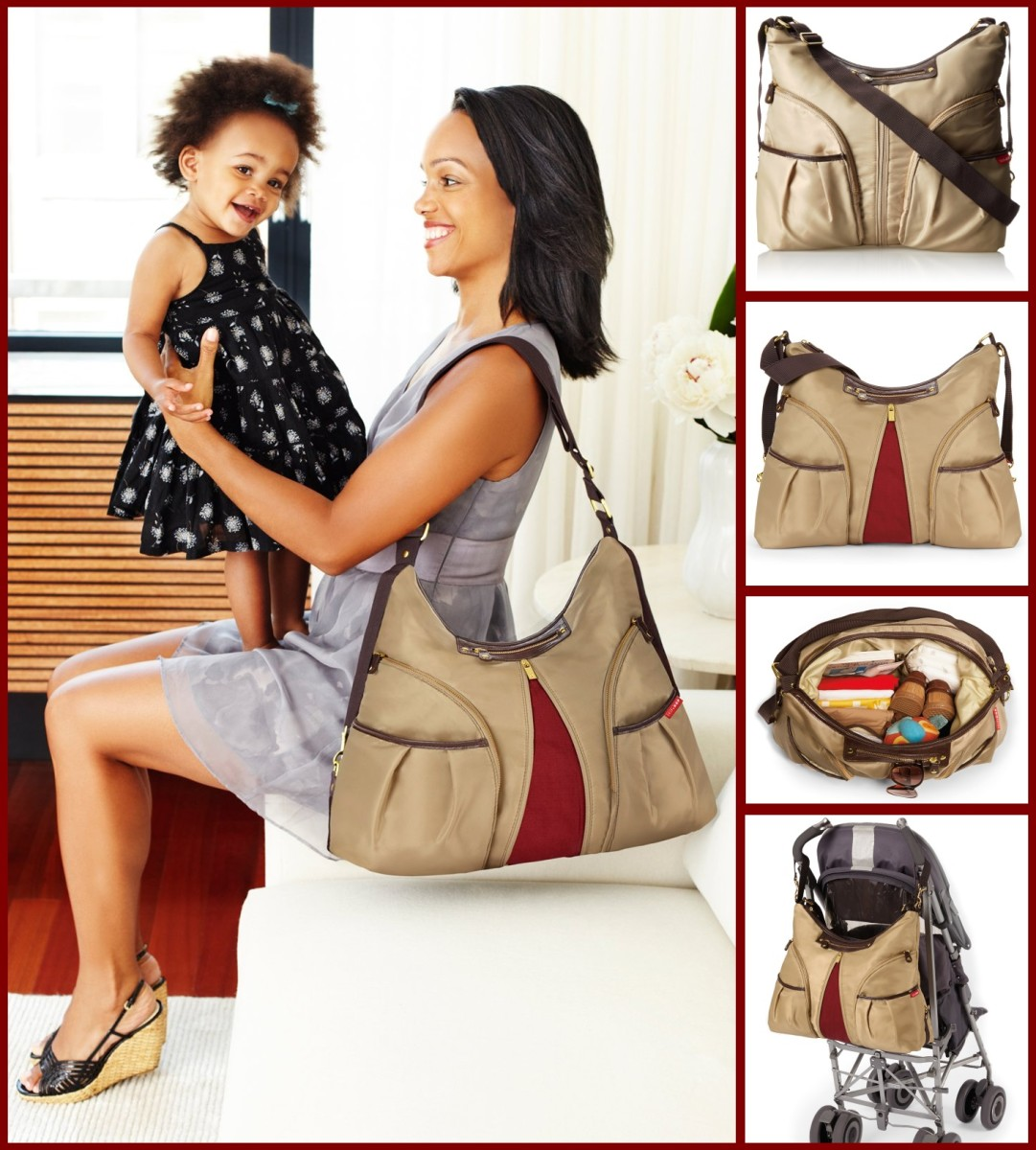 Skip Hop Versa Expandable Diaper Bag, Khaki Brown