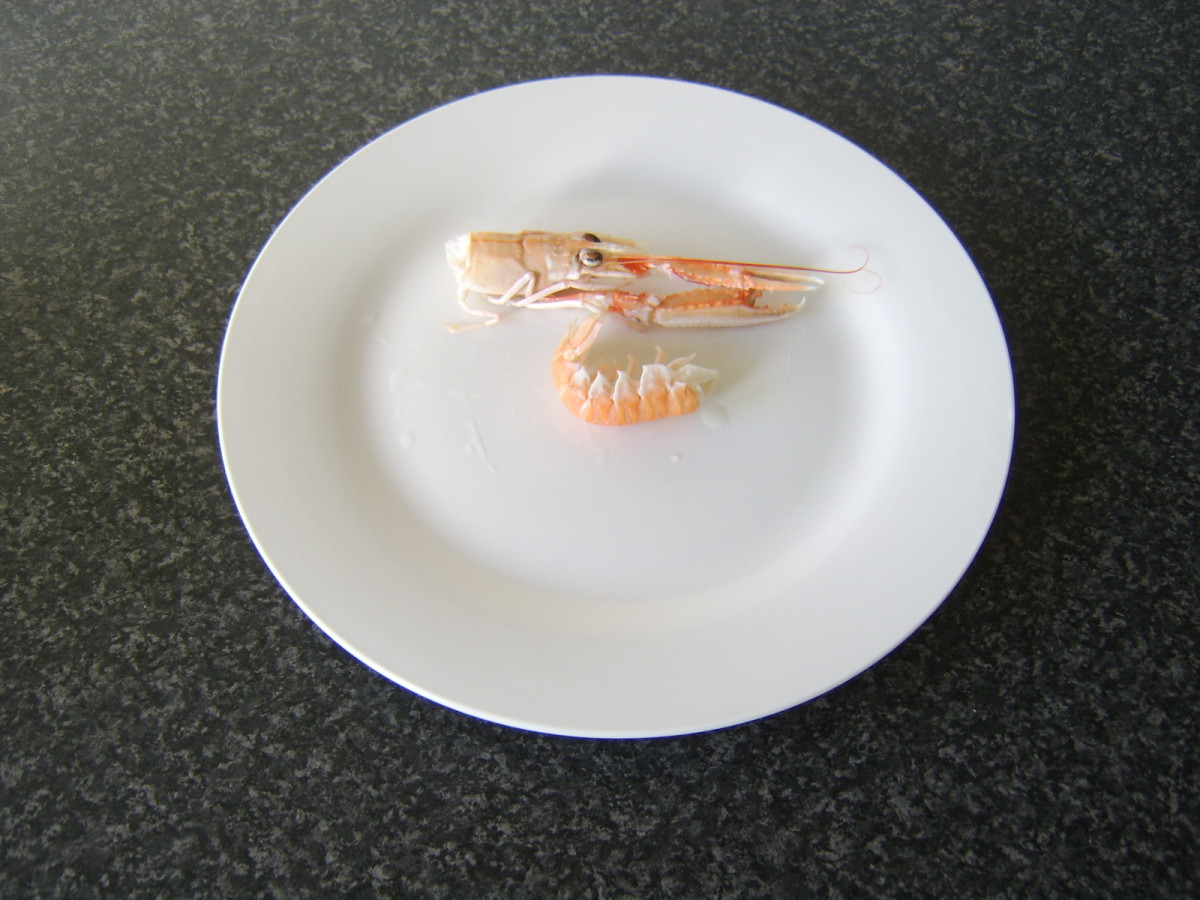 Langoustine head and tail are separated