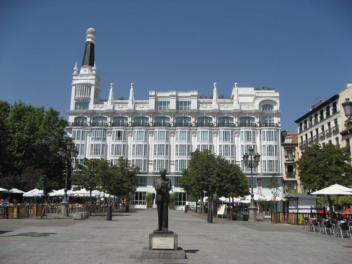 Plaza de Santa Ana in Madrid famous for its elegant night life.