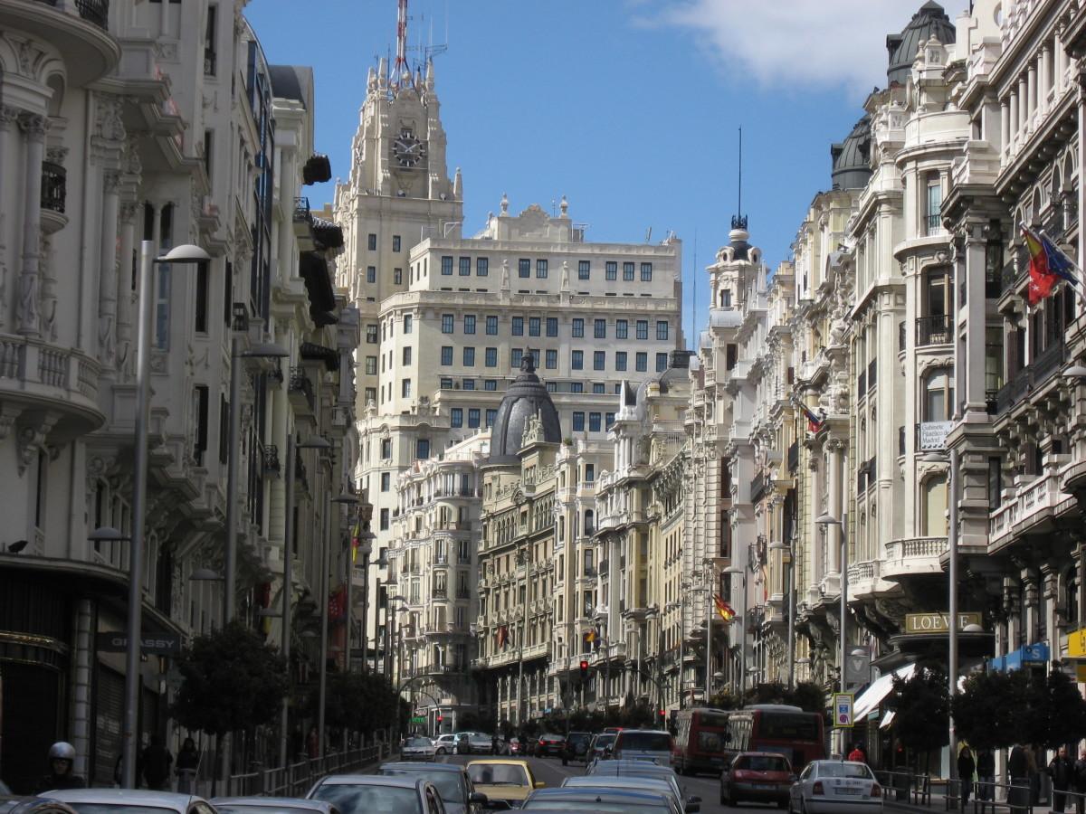 La Gran Via in Madrid Spain.