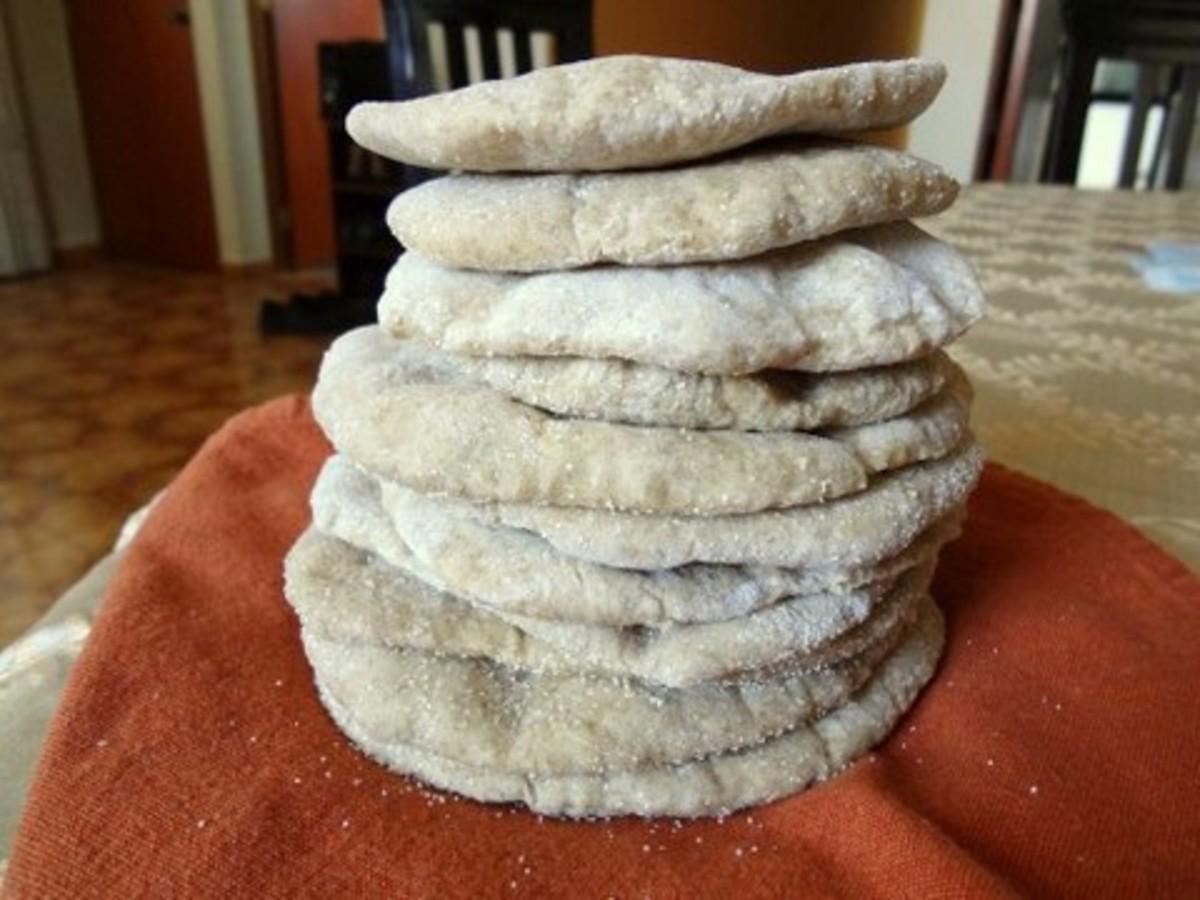 Warm stack of pita bread