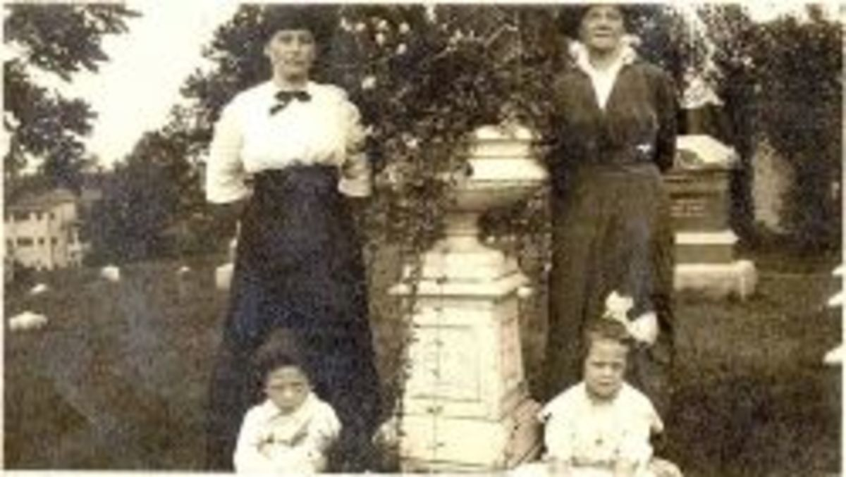 A photograph of Selma, Felix and Lillian Asplund sitting in the tombs of the Asplund shortly after the tragedy of the Titanic and Carl's funeral in Worcester, Massachusetts, USA.