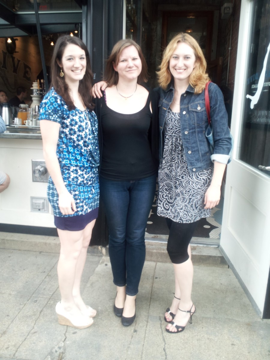 "Me and my friends out to Tall Lady Brunch for a celebration of friends at eye level! We are (left to right) 5'11"", 6', and 6'3/4""."