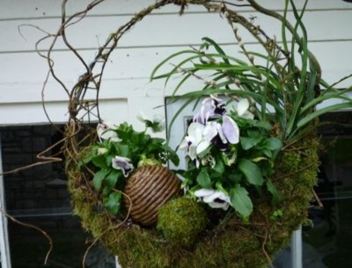 Repeat Your Design Theme (Orbs, Pansies, Moss and Twigs are Featured Today) For Maximum Design Impact.  Image:KateHon