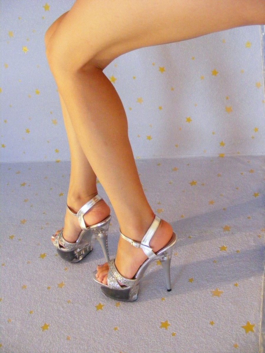 Sexy long legs, made longer with heels.