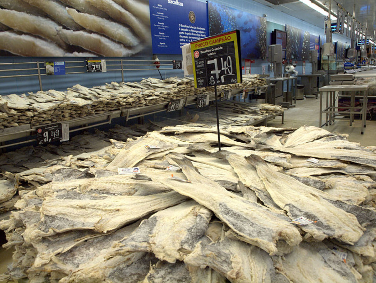 Dried, salted cod fish on sale at the supermarket