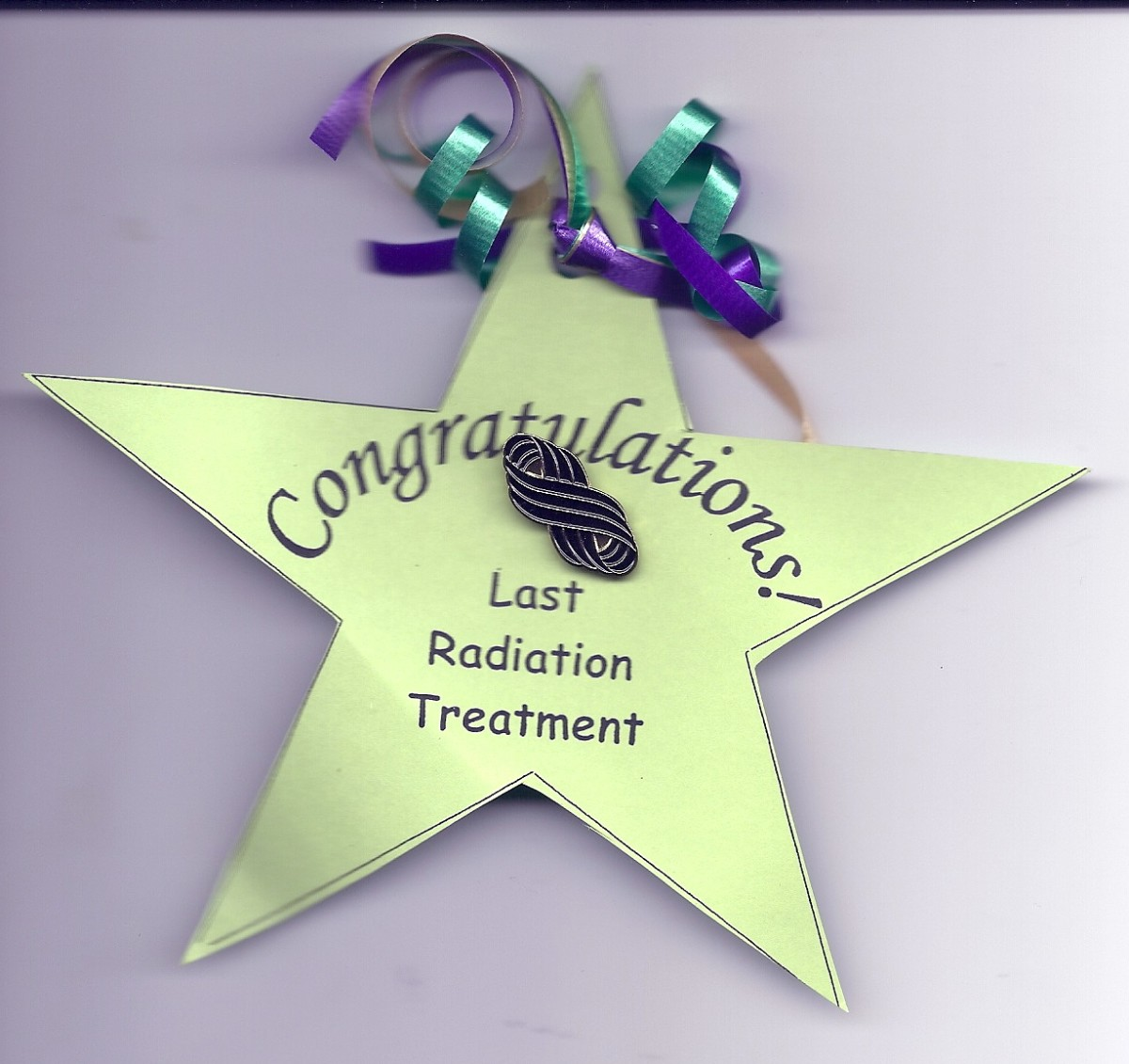 Radiation Star received after seven weeks and one day of radiation was completed!