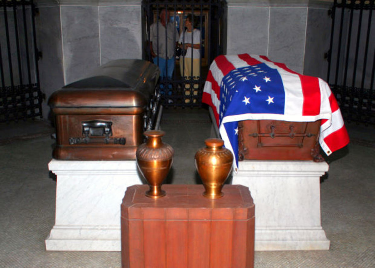 Two caskets at a memorial