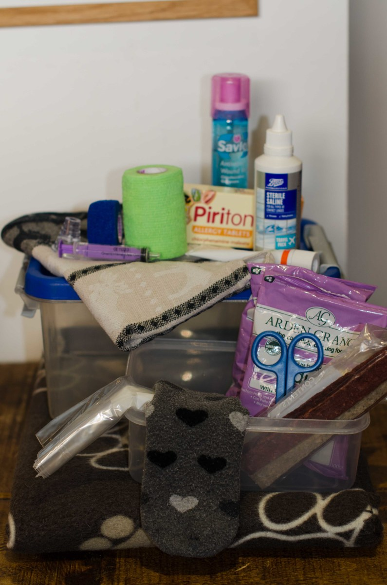 I added a couple of pieces to the 'human' first aid kit and voila - we have a first aid kit for the whole family!