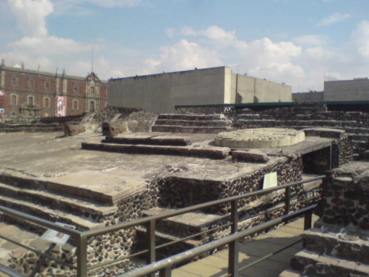 The original Templo Mayor of Tenochtitlan, today excavated and on display in the center of Mexico City.