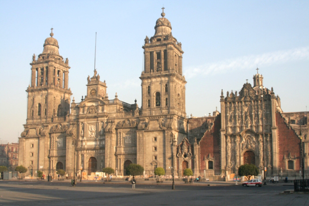 Cathedral in Mexico City that was sinking into the ground at one time.  Built over Tenochtitlan.