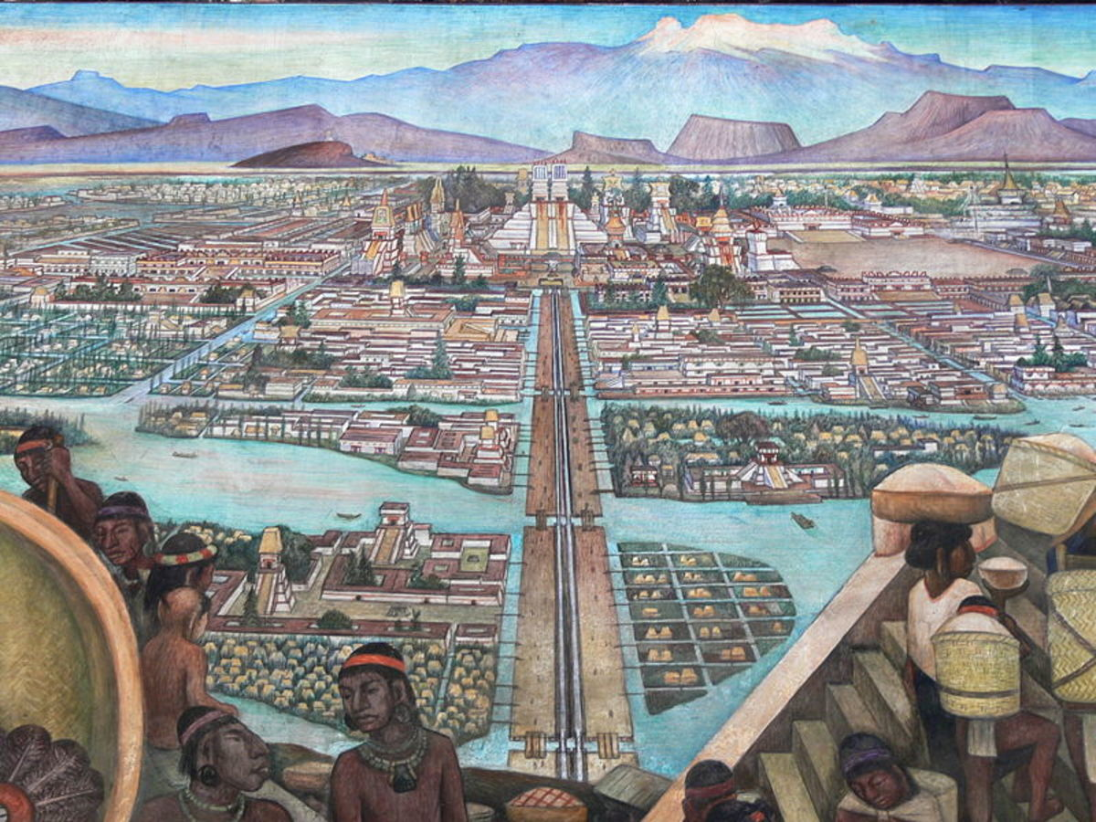 Mural painting of Tenochtitlan, as it looked at its height of power, by Diego Rivera, noteable Mexican painter and muralist.
