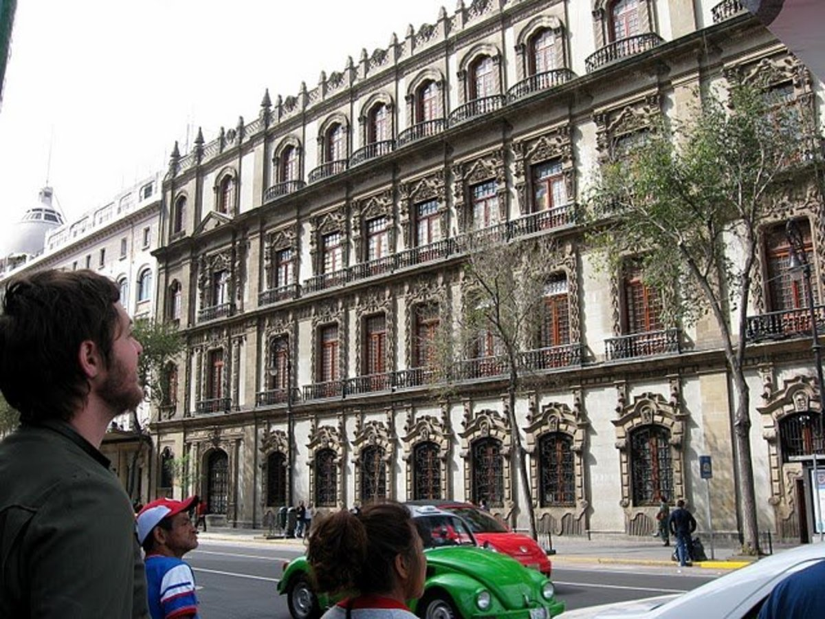 Colonial section of modern day Mexico City, originally built by the Spanish over Tenochtitlan.