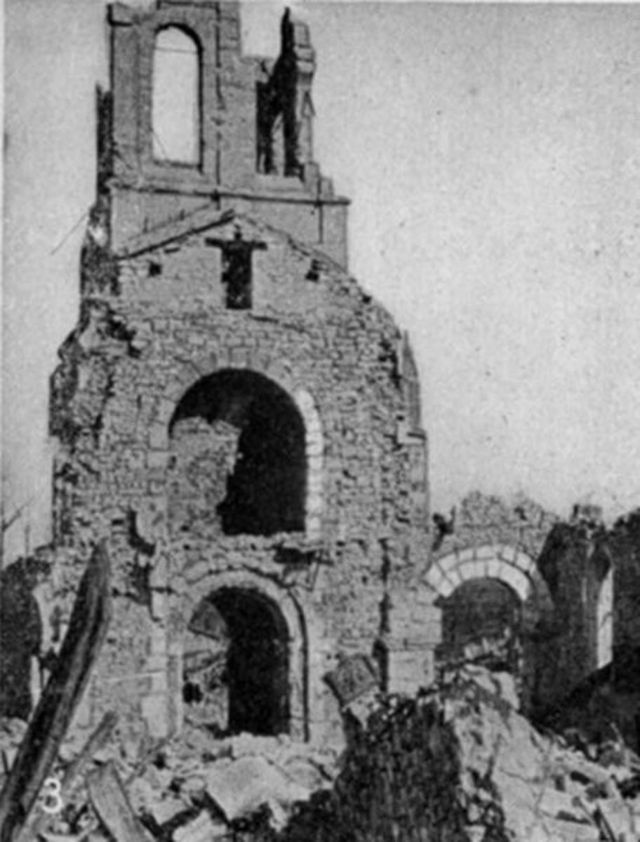 Whole Towns and Cities had to be re built after the war, this Church was damaged beyond repair.