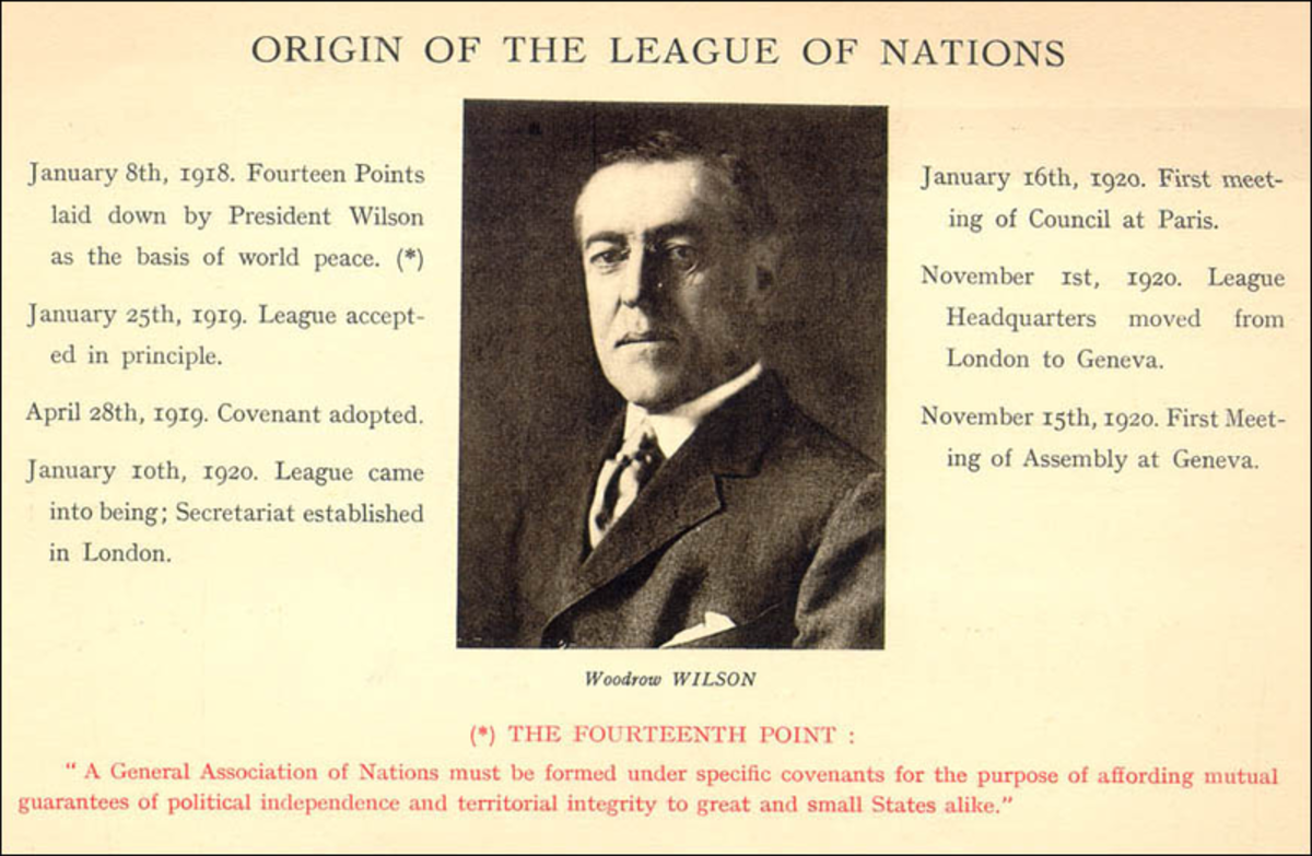 Wilson's 14 point plan, included a League of Nations