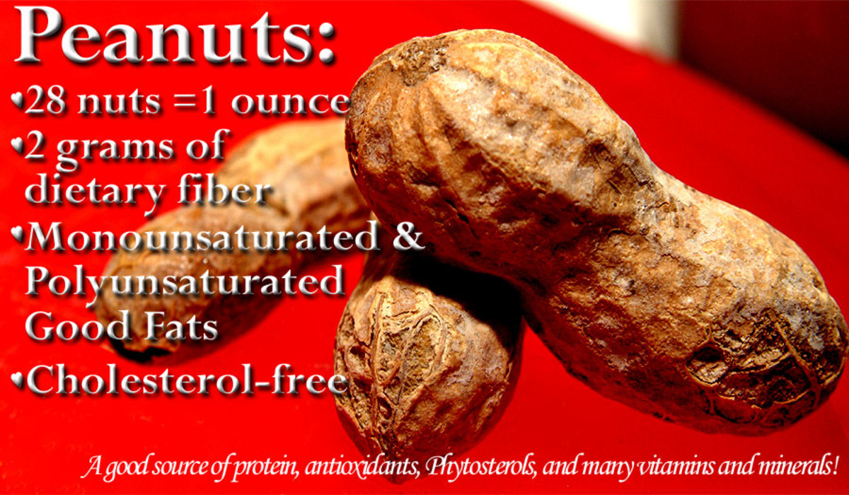 Peanuts have 2 grams of fiber for every 1 oz. of nuts.