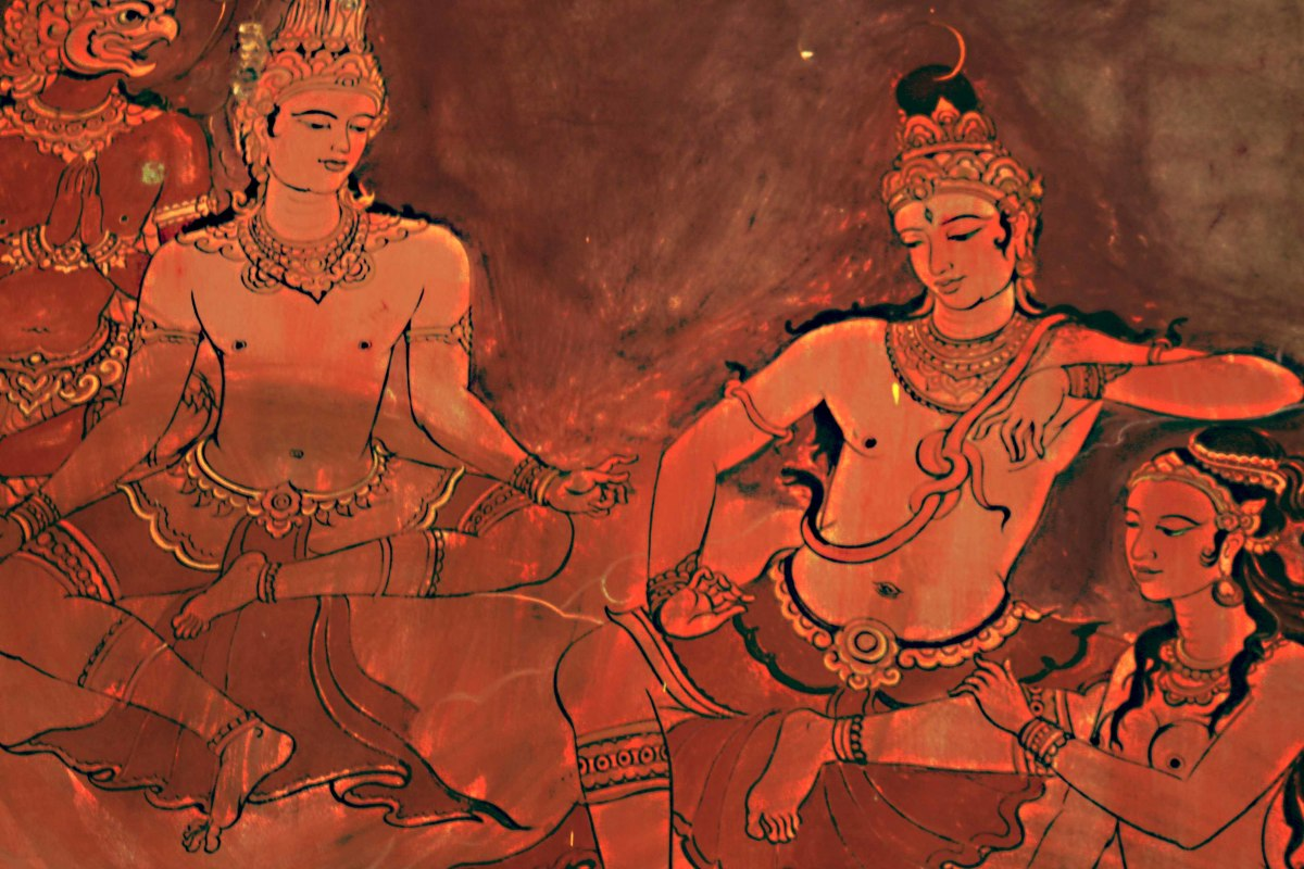 This is an image of two of the principal Hindu Gods - Vishnu on the left and Shiva on the right. Seated at Shiva's feet is the Goddess Parvati