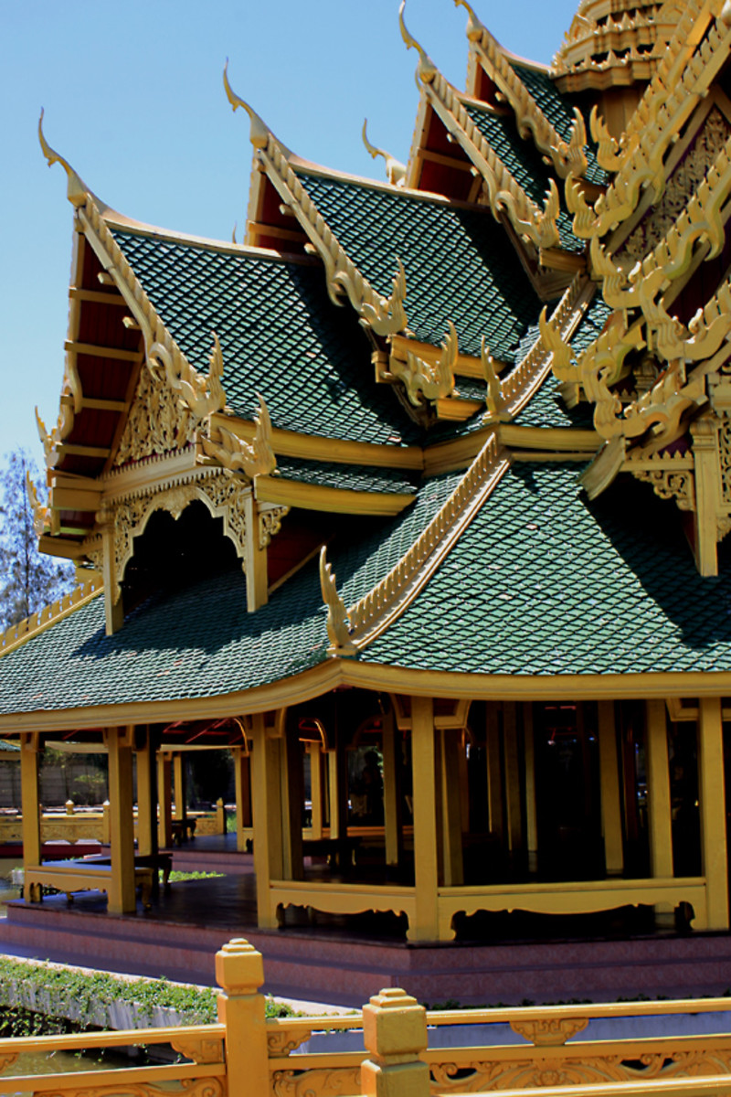 The decorative, intricately designed entrance of the Pavilion of the Enlightened - one of the most beautiful buildings in Muang Boran