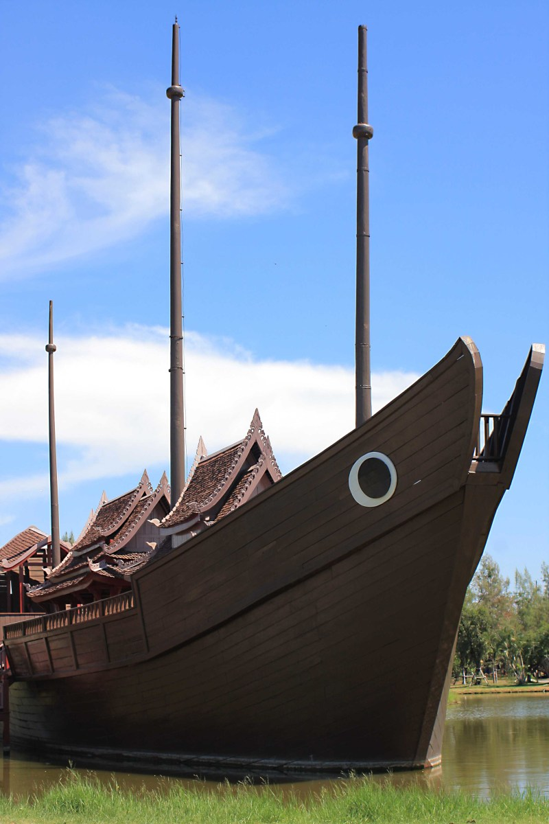 A Thai Junk. Wooden trading boats like this used to sail down the rivers to the sea from the days of the old capital of Ayutthaya right up until the 20th century and the City of Bangkok. All, however, have now gone