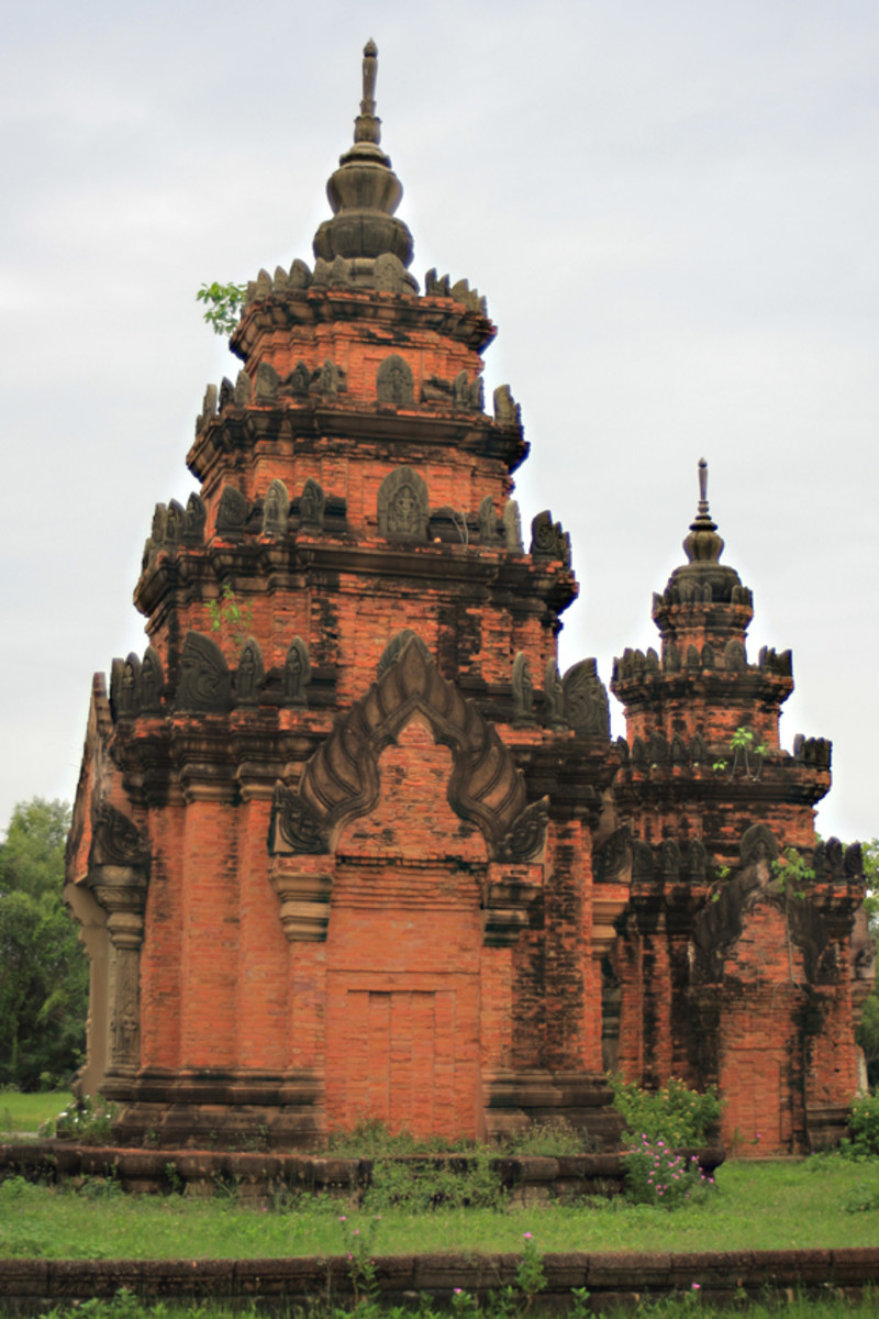 Prasat Sikhoraphum, Surin. Originally built in the 12th century, this was a Hindu sanctury of five temple towers. Around the15th century it was converted to become a Buddhist centre