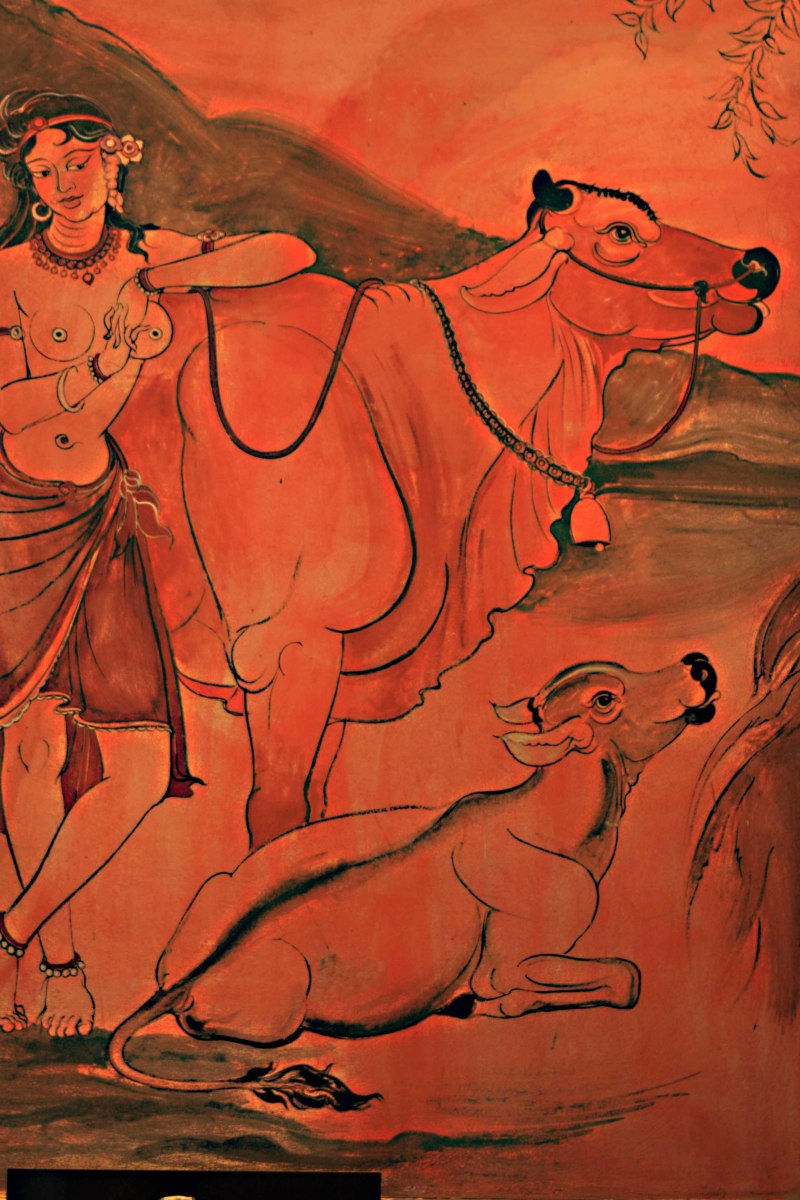 Gopi, a female cow herder, in a painting in the Sanphet Prasat Palace which elsewhere also depicts Shiva as a musician