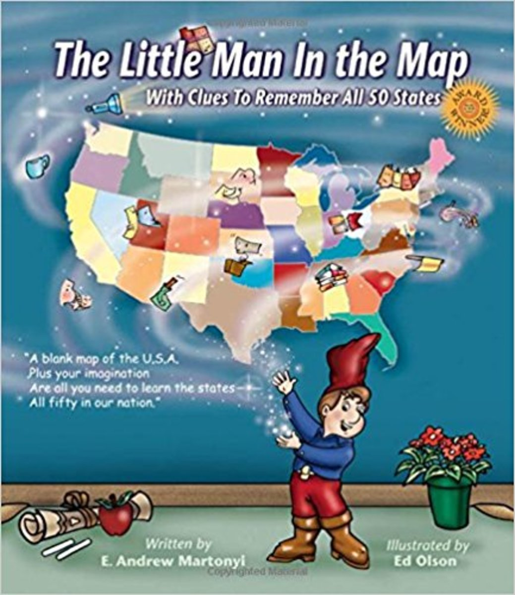 The Little Man In the Map: With Clues To Remember All 50 States by E. Andrew Martonyi - Book image is from amazon.com.
