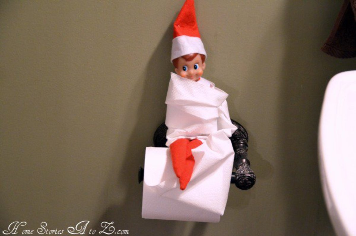 Oh the fun an Elf can have with toilet paper!  This little festive fellow can be found at http://www.homestoriesatoz.com