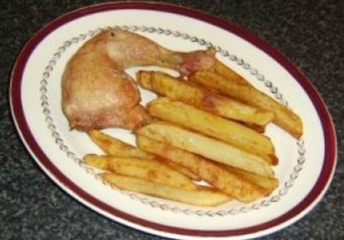 A simple dish which sees a chicken leg portion roasted whole and served with homemade chips