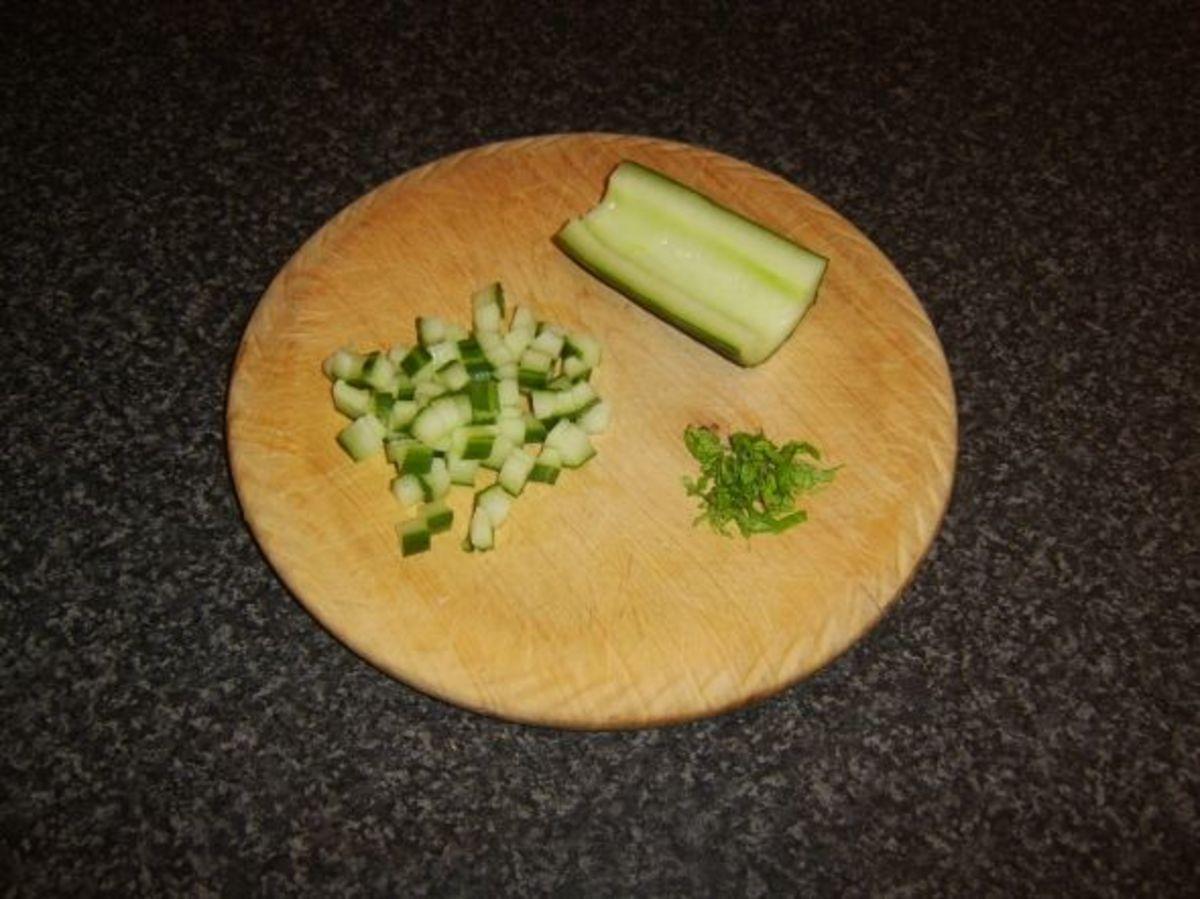 Preparing mint raita