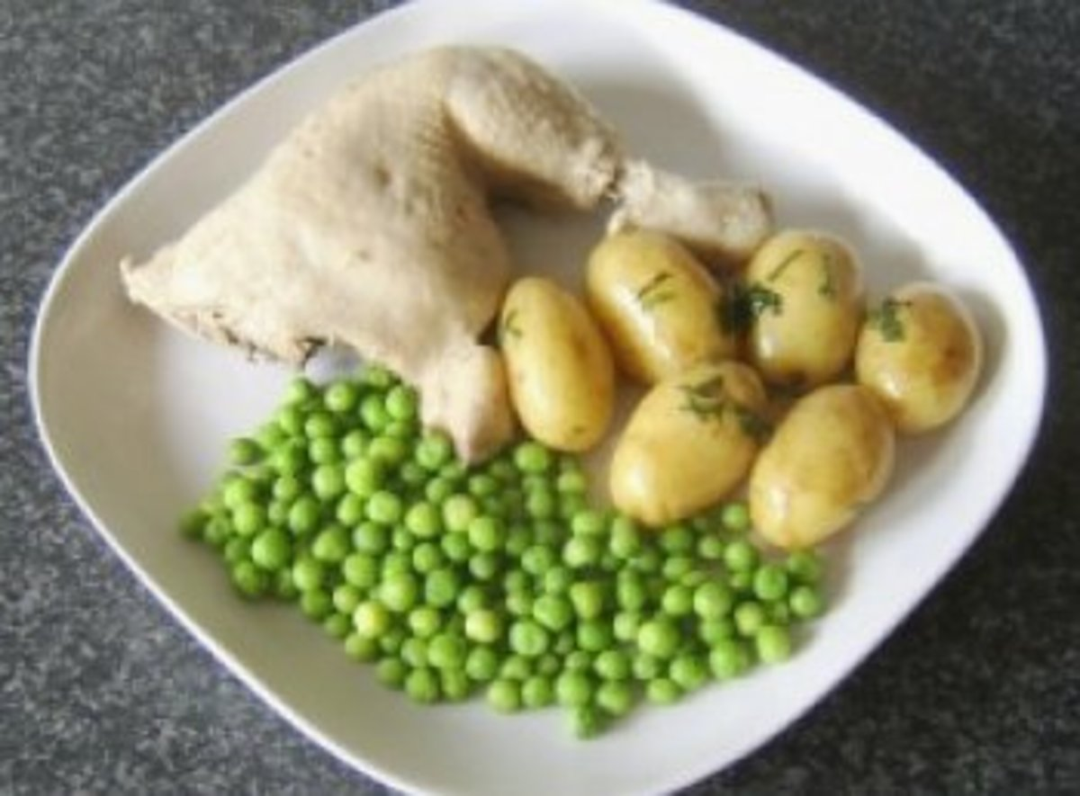 Poached Chicken Leg Portion with Mint Buttered Potatoes