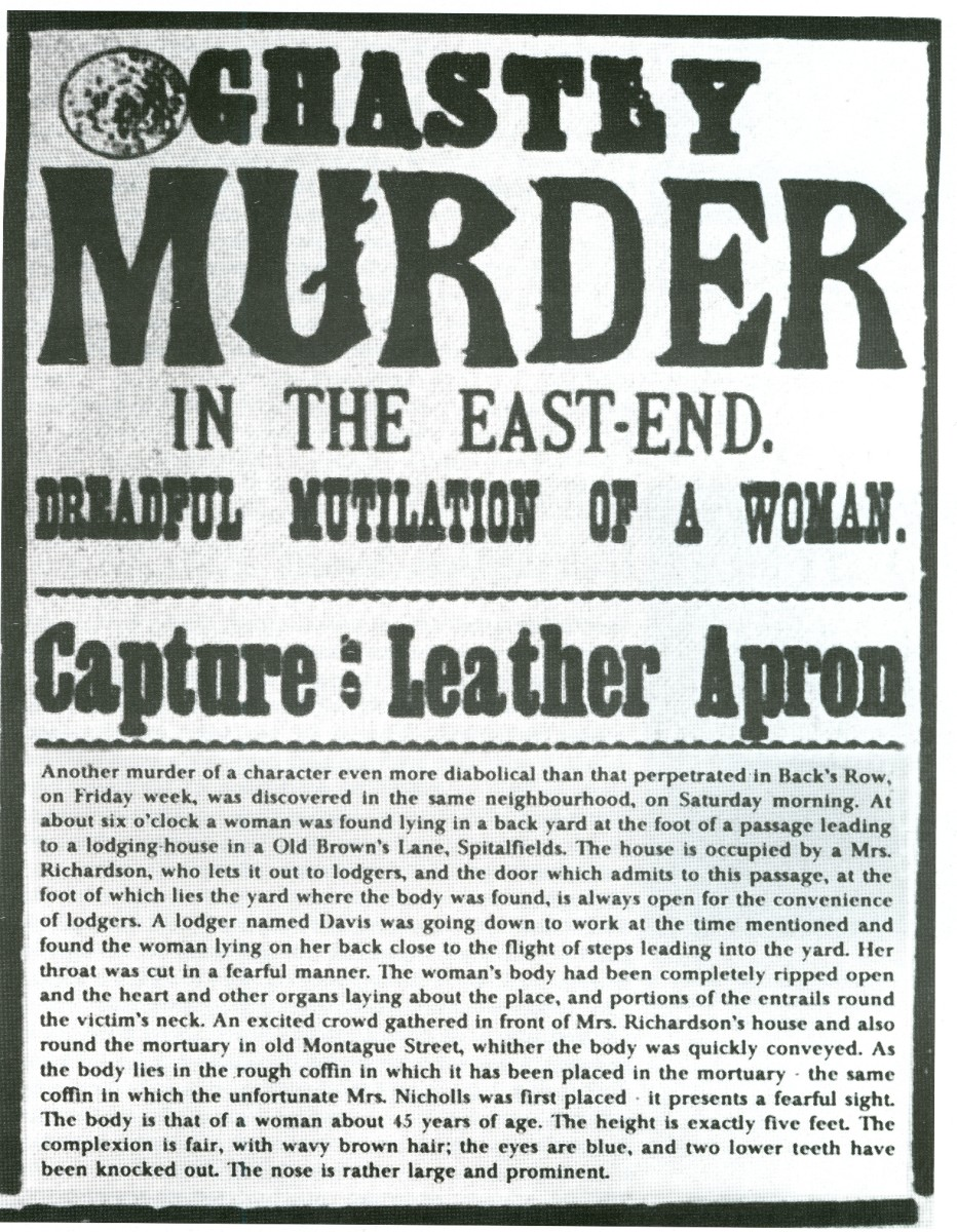 "A newspaper headline alluding to the Jack the Ripper murders. One of his early nicknames was ""Leather Apron."""