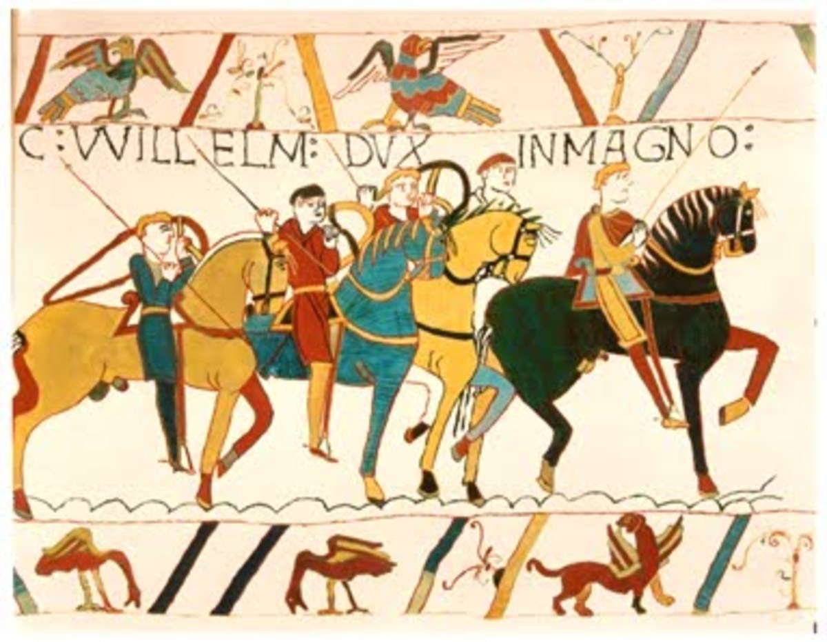 A portion of the Bayeux Tapestry that depicts the Norman invasion of Britain, one of the most important events of British history.