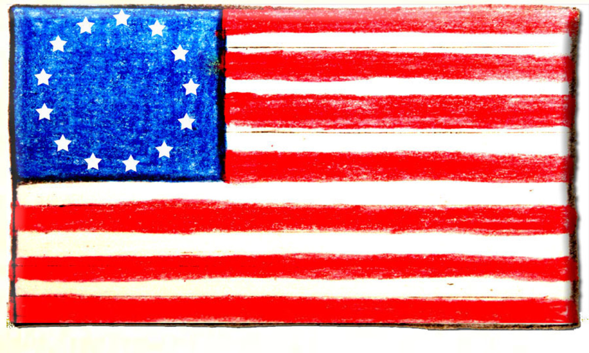 "Betsy Ross Flag:  ""Stars and Stripes"" 13 stars, 7 red stripes, 6 white stripes."