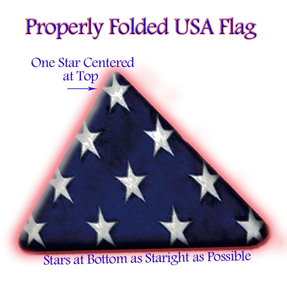 A properly folded American Flag has a single star centered at top.