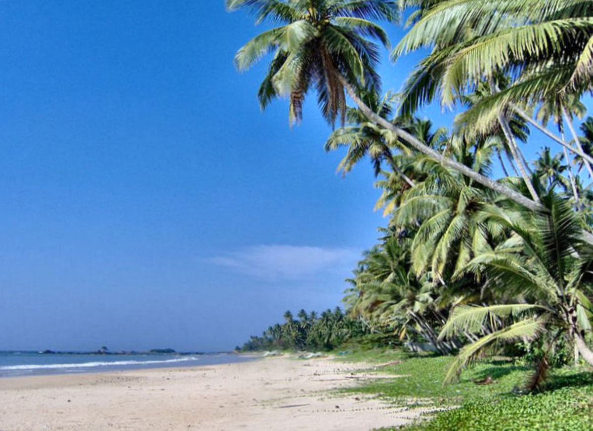 'The copyright holder of this work, releases this work into the public domain.' See: http://commons.wikimedia.org/wiki/File:Matara_Beach,_Sri_Lanka.JPG